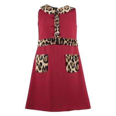 Red cady dress with leopard print details