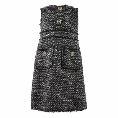 Grey tweed dress with decorated buttons