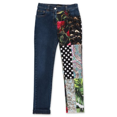 Dolce & Gabbana stretch cotton denim patchwork effect jeans