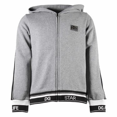 Grey zip-up cotton sweatshirt hoodie