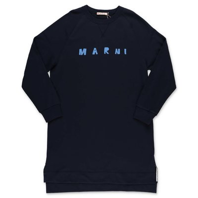 MARNI navy blue cotton sweatshirt dress