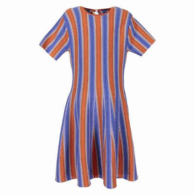 Blue and orange striped cotton blend flared dress