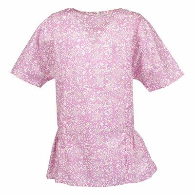 Blusa colore rosa stampa floreale in popeline di cotone