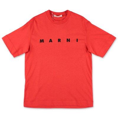 MARNI t-shirt rossa in jersey di cotone