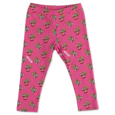 Moschino fuchsia stretch cotton jersey leggings