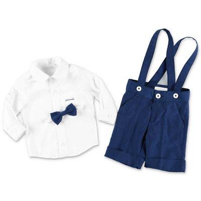 MODI' white cotton shirt and blue pants  set
