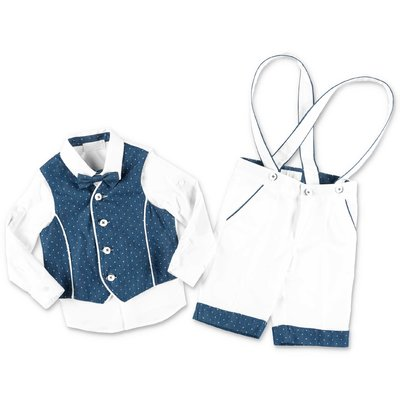 Modì white & blue layered effect cotton set