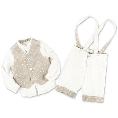 MODI' completo con gilet beige, camicia e pantaloni bianchi in lino
