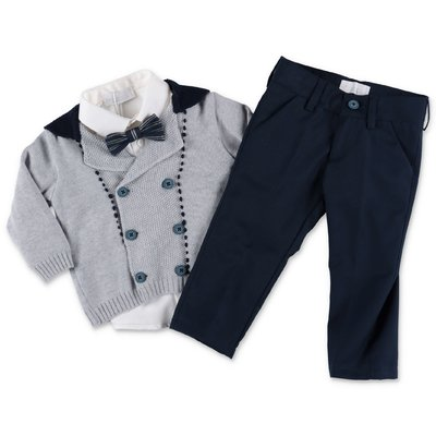Modì wool cardigan, cotton blend shirt and pants set