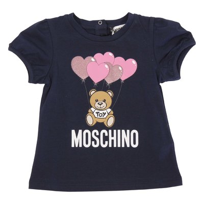 Navy blue Teddy Bear glitter cotton jersey t-shirt