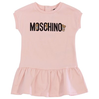 Moschino pink logo detail cotton jersey dress