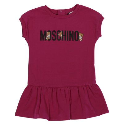 Fuchsia logo detail cotton sweatshirt dress