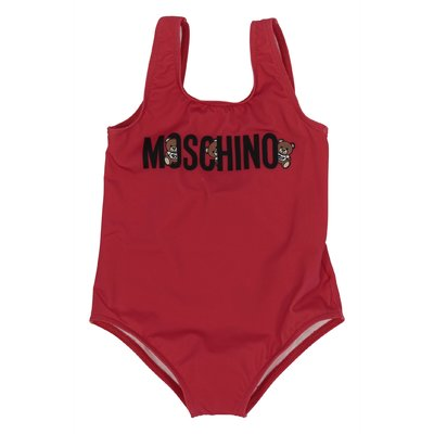 Red logo detail lycra one-piece swimsuit