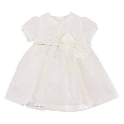 Miss Blumarine white lace dress with bow