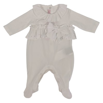 White cotton jersey romper with bow and ruffles
