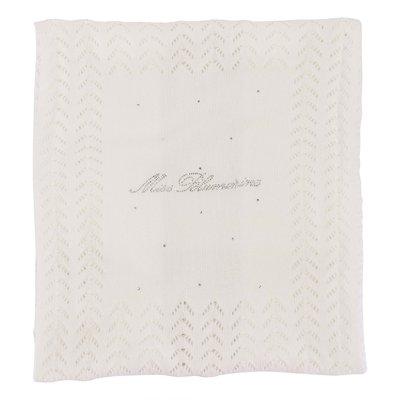 Coperta bianca in maglia di cotone con logo