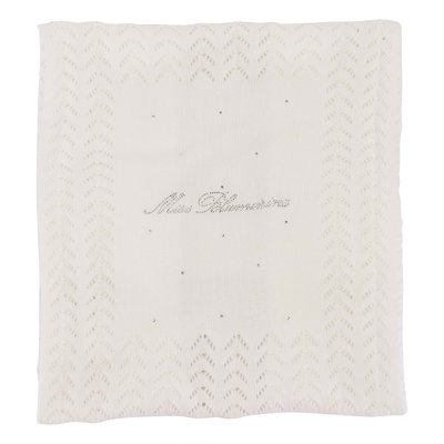 White logo cotton knit blanket