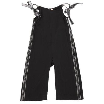 Black techno fabric jumpsuit