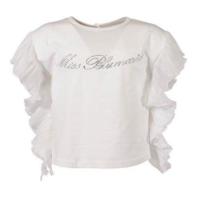 Top bianco in jersey di cotone con logo in cristalli