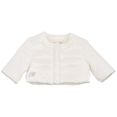 White crystal logo detail quilted bolero jacket