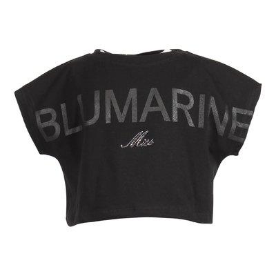 Top nero in jersey di cotone con dettaglio logo