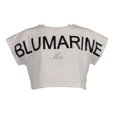Top bianco in jersey di cotone con dettaglio logo