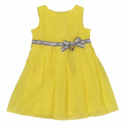 Abito giallo limone in techno tessuto con dettaglio logo