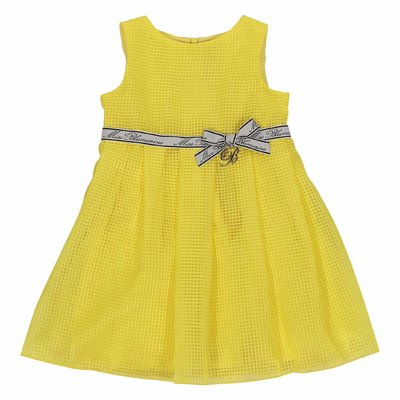 Lemon yellow logo detail techno fabric dress