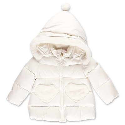Miss Blumarine white nylon down feather jacket with hood