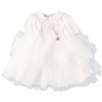 Miss Blumarine white cotton formal dress