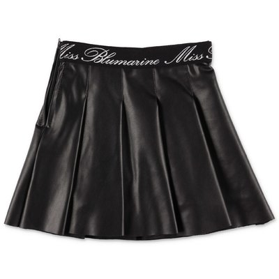 Miss Blumarine black faux leather pleated skirt