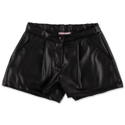 Miss Blumarine shorts neri in simil pelle