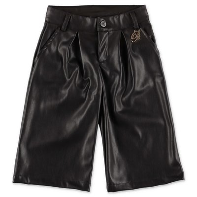 Miss Blumarine black faux leather wide pants