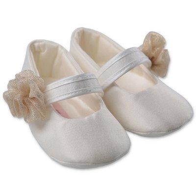 Miss Blumarine white satin prewalker shoes