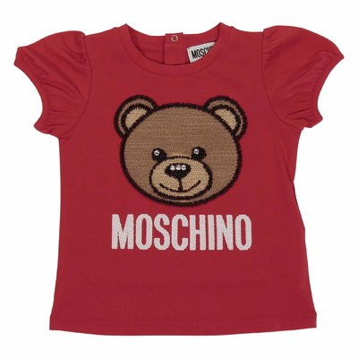 Red Teddy Bear sequined cotton jersey t-shirt