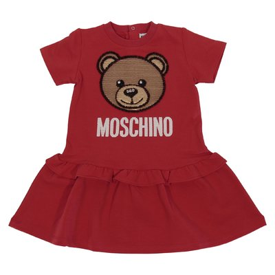 Red cotton jersey Teddy Bear dress