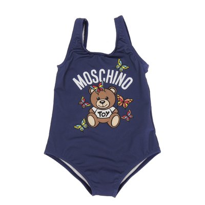 Navy blue Teddy Bear lycra one-piece swimsuit