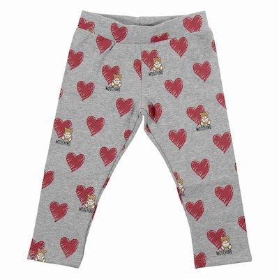 Melange grey print elastic cotton leggings