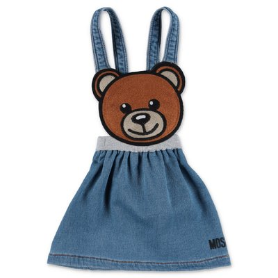 MOSCHINO abito blu Teddy Bear in denim di cotone stretch