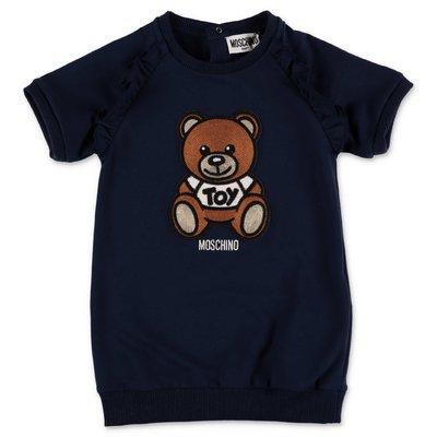 MOSCHINO Teddy Bear navy blue cotton jersey dress