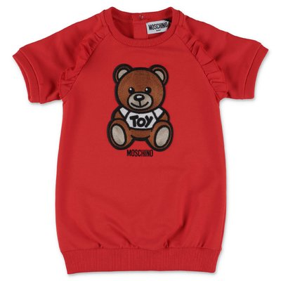 MOSCHINO red cotton jersey Teddy Bear dress