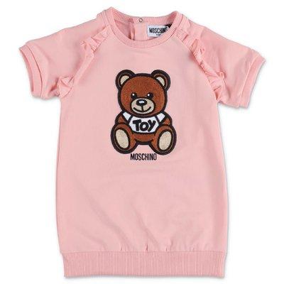 MOSCHINO abito rosa Teddy Bear in jersey di cotone