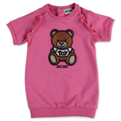 MOSCHINO abito fucsia Teddy Bear in jersey di cotone