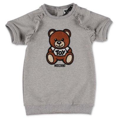 MOSCHINO abito grigio melange Teddy Bear in jersey di cotone