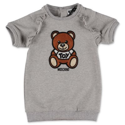 MOSCHINO Teddy Bear melange grey cotton jersey dress