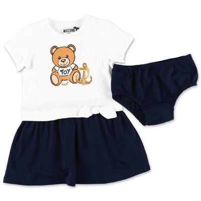 MOSCHINO abito Teddy Bear in jersey di cotone con pannelli a contrasto e coulotte