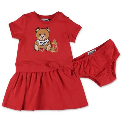 MOSCHINO Teddy Bear red cotton jersey dress with coulottes
