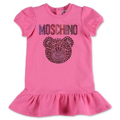 MOSCHINO Teddy Bear pink cotton jersey dress