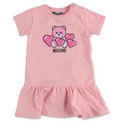 MOSCHINO Teddy Bear pink cotton jersey dress