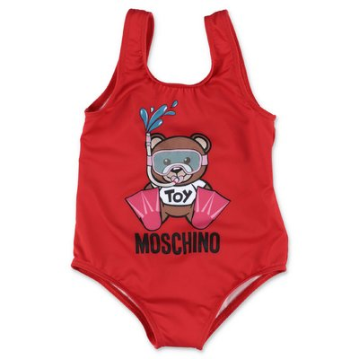 MOSCHINO Teddy Bear red nylon swimsuit